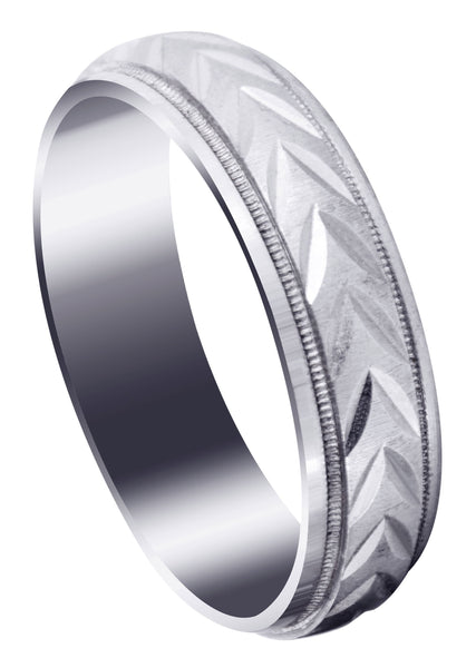 Basic Carved Diamond Cut Mens Wedding Band | Cross Satin Finish (Austin)
