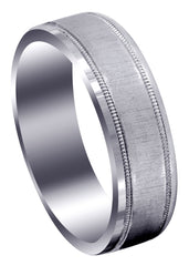 Carved Simple Mens Wedding Band | Cross Satin Finish (Gabriel)