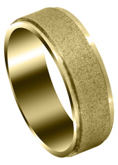 Yellow Gold Carved Simple Mens Wedding Band | Wire Matt Finish (Jayden)