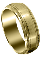 Yellow Gold Carved Simple Mens Wedding Band | Satin Finish (Oliver)