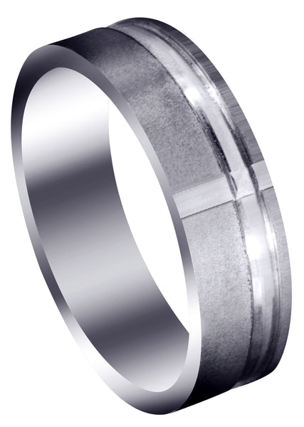 Carved Religious Mens Wedding Band | Stone Finish (David)