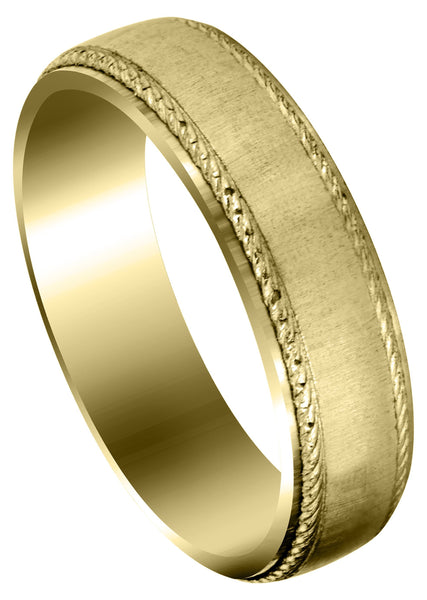 Yellow Gold Basic Carved Celtic Mens Wedding Band | Cross Satin Finish (Evan)