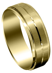 Yellow Gold Basic Carved Celtic Mens Wedding Band | Satin Finish (Lincoln)
