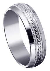 Basic Carved Celtic Mens Wedding Band | Satin Finish (Angel)