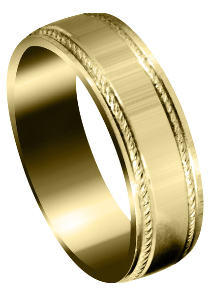 Yellow Gold Basic Carved Celtic Mens Wedding Band | Wire Matt Finish (Brayden)