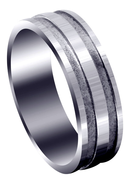 Carved Simple Mens Wedding Band | Sand Blast / High Polish Finish (Lucas)