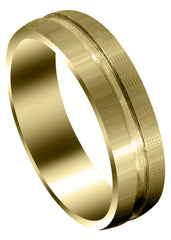 Yellow Gold Carved Simple Mens Wedding Band | Satin Finish (Matthew)