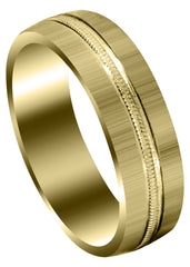 Yellow Gold Carved Simple Mens Wedding Band | Cross Satin Finish (Logan)