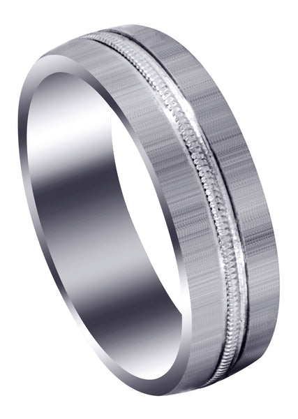 Carved Simple Mens Wedding Band | Cross Satin Finish (Logan)