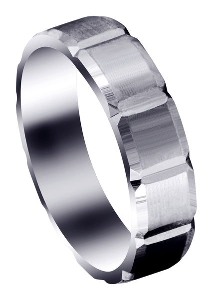 Carved Diamond Cut Mens Wedding Band | Satin Finish (Aiden)