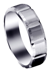 Carved Diamond Cut Mens Wedding Band | Satin Finish (Aiden) Wedding Band FrostNYC