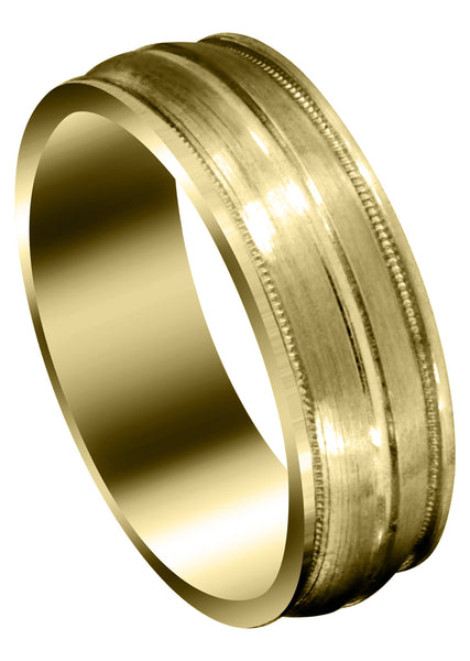 Yellow Gold Carved Modern Mens Wedding Band | Satin / Hish Polish Finish (Elijah)