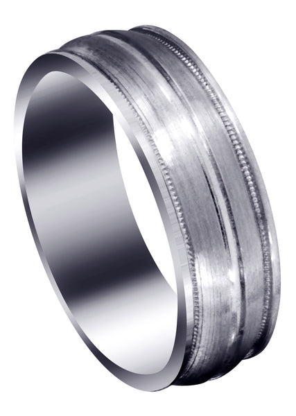Carved Modern Mens Wedding Band | Satin / Hish Polish Finish (Elijah)