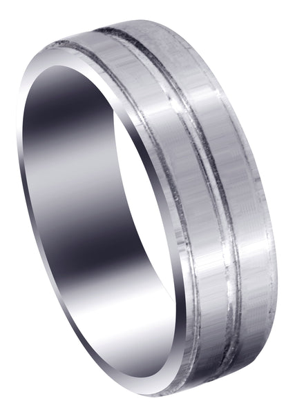 Carved Simple Mens Wedding Band | Satin Finish (Benjamin)