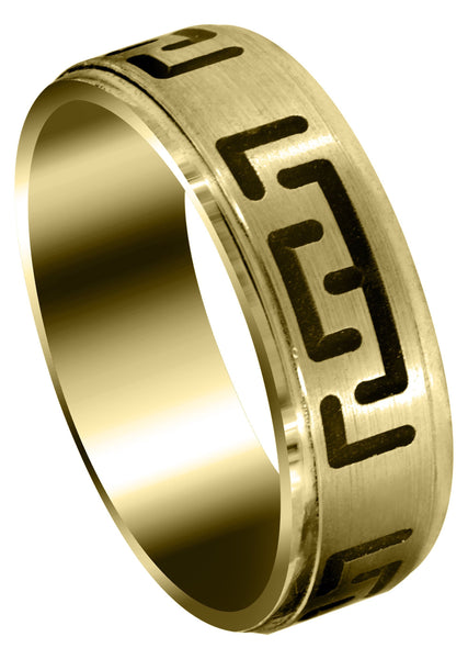 Yellow Gold Fancy Carved Contemporary Mens Wedding Band | Satin / High Polish Finish (Adrian)