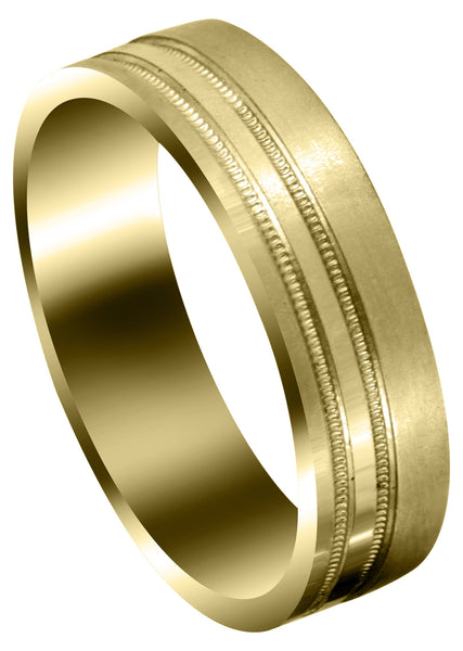 Yellow Gold Carved Simple Mens Engagement Ring | Satin Finish (Alexander)