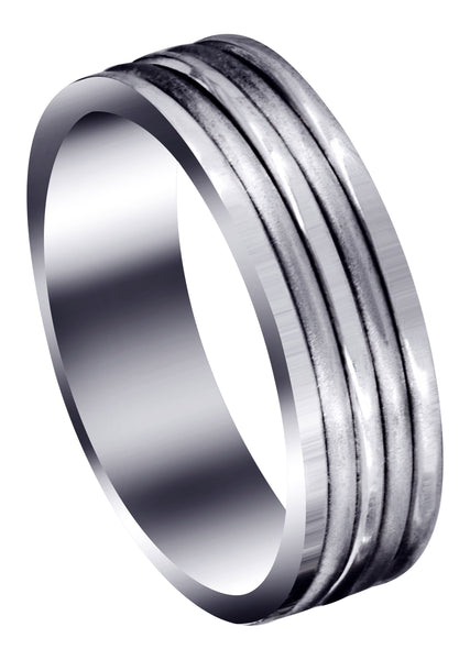 Contemporary Unique Mens Wedding Band | High Polish Finish (Ethan)