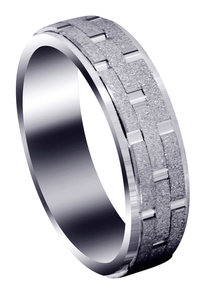 Fancy Carved Contemporary Mens Wedding Band | Stone Finish (William)