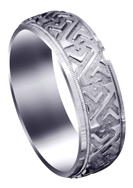 Contemporary Unique Mens Wedding Band | Sand Blast / High Polish Finish (Jacob)
