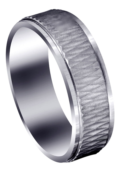 Fancy Carved Contemporary Mens Wedding Band | Sand Blast / High Polish Finish (Mason)