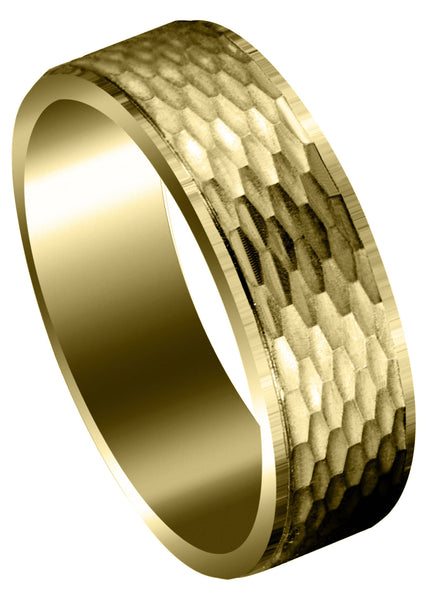 Yellow Gold Fancy Carved Contemporary Mens Wedding Band | Satin / High Polish Finish (Owen)