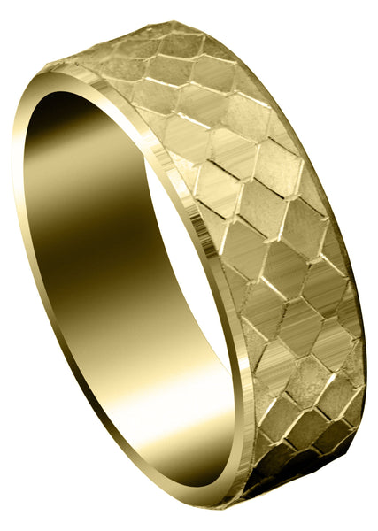 Yellow Gold Fancy Carved Contemporary Mens Wedding Band | Satin / High Polish Finish (Sebastian)