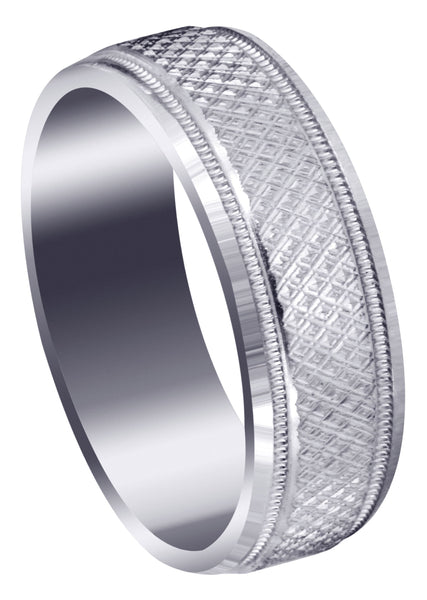 Fancy Carved Contemporary Mens Wedding Band | Diamond Cut Finish (Christopher)
