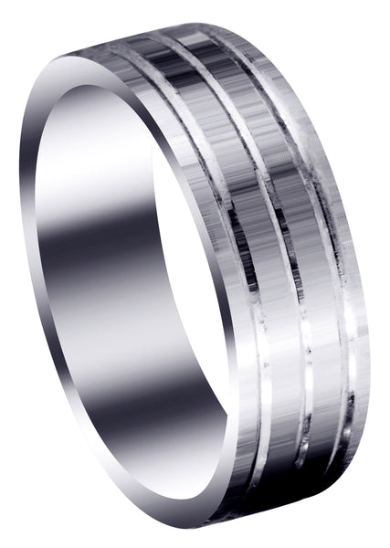 Carved Simple Mens Wedding Band | Satin Finish (Liam)