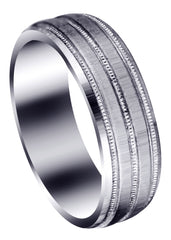 Carved Simple Mens Wedding Band | Cross Satin Finish (Noah)