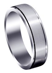 Carved Simple Mens Wedding Band | Satin Finish (Nathan)