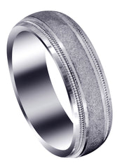 Carved Simple Mens Wedding Band | Stone Finish (Ryan)