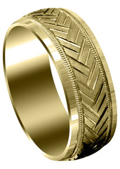 Yellow Gold Fancy Carved Contemporary Mens Wedding Band | High Polish Finish (Hunter) Yellow Wedding Band FrostNYC