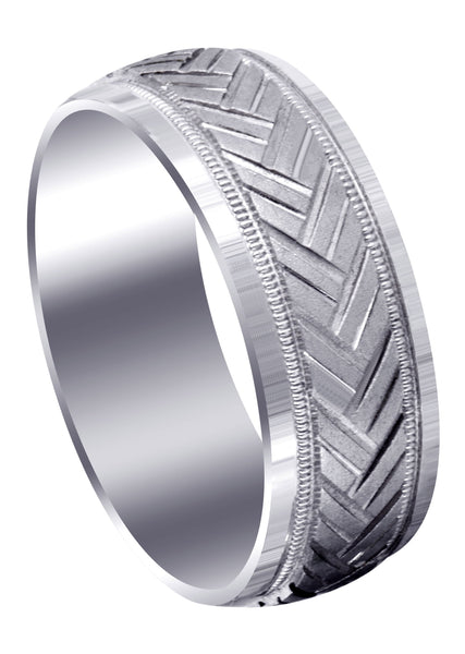 Fancy Carved Contemporary Mens Wedding Band | GB / High Polish Finish (Hunter)