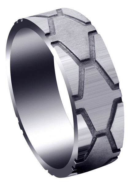 Fancy Carved Contemporary Mens Wedding Band | High Polish Finish (Andrew)