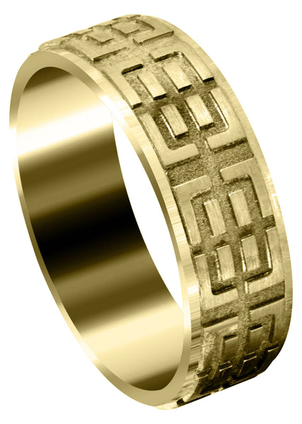 Yellow Gold Fancy Carved Contemporary Mens Wedding Band | Satin / High Polish Finish (Henry)
