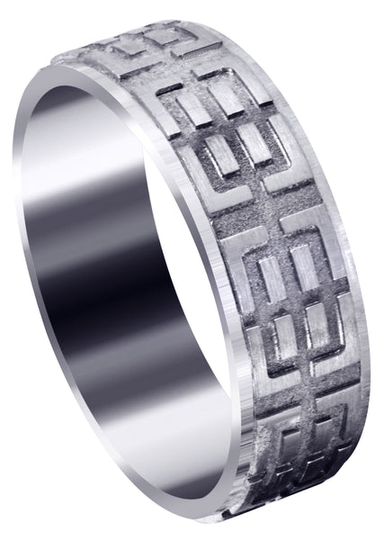 Fancy Carved Contemporary Mens Wedding Band | Satin / High Polish Finish (Henry)