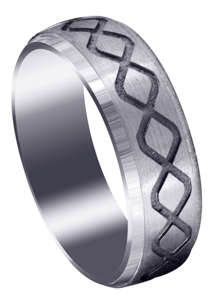 Fancy Carved Contemporary Mens Wedding Band | Satin / High Polish Finish (Luke)