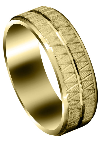 Yellow Gold Fancy Carved Contemporary Mens Wedding Band | Diamond Cut Finish (Levi)