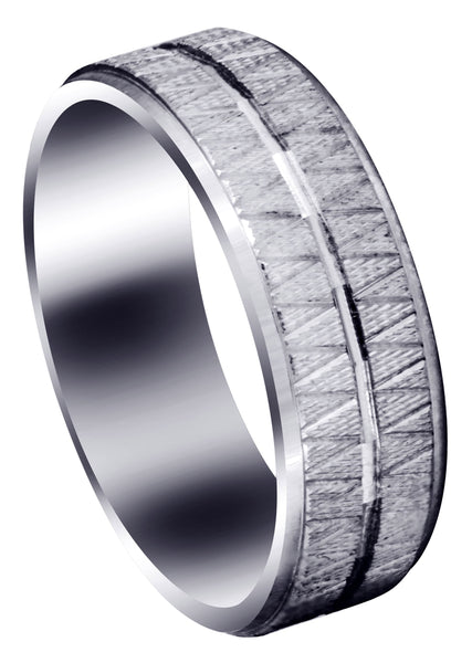 Fancy Carved Contemporary Mens Wedding Band | Diamond Cut Finish (Levi)