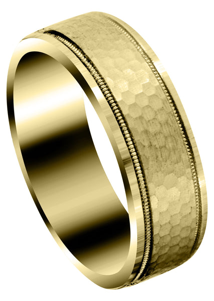 Yellow Gold Fancy Carved Contemporary Mens Wedding Band | Satin / Hish Polish Finish (Christian)