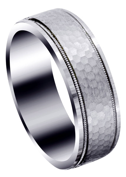 Fancy Carved Contemporary Mens Wedding Band | Satin / Hish Polish Finish (Christian)