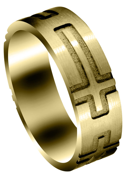 Yellow Gold Fancy Carved Religious Mens Wedding Band | Satin Finish (Jaxon)