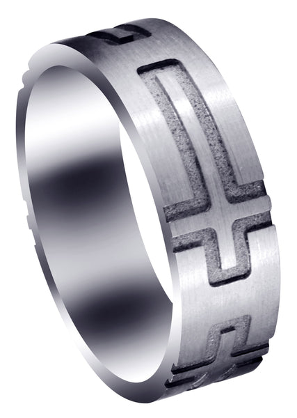 Fancy Carved Religious Mens Wedding Band | Satin Finish (Jaxon)
