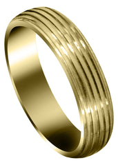 Yellow Gold Carved Simple Mens Wedding Band | High Polish Finish (Landon)