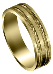 Yellow Gold Carved Simple Mens Wedding Band | High Polish Finish (Grayson)