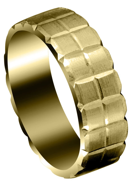 Yellow Gold Carved Diamond Cut Mens Wedding Band | Satin Finish (Jonathan)