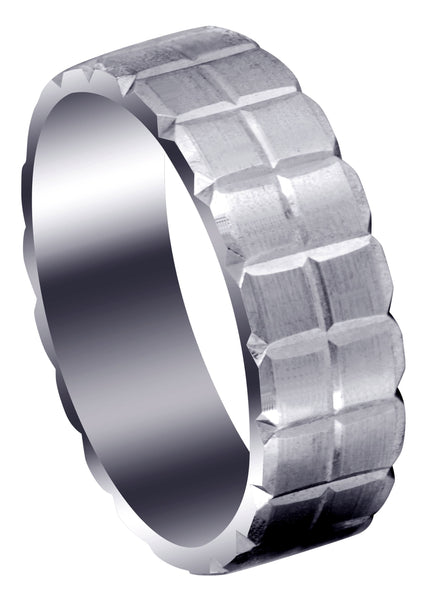 Carved Diamond Cut Mens Wedding Band | Satin Finish (Jonathan)