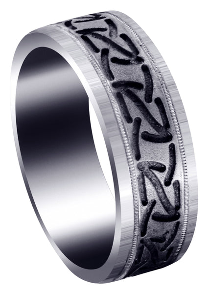 Fancy Carved Contemporary Mens Wedding Band | GB / High Polish Finish (John)