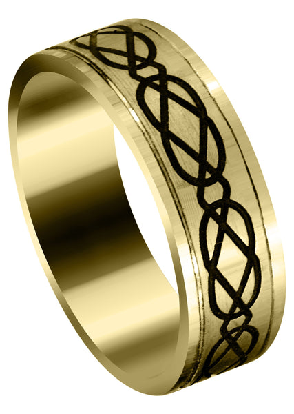 Yellow Gold Ultra Fancy Milled Design Mens Wedding Band | Satin / High Polish Finish (Anthony)