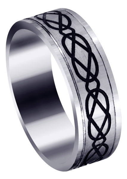 Ultra Fancy Milled Design Mens Wedding Band | Satin / High Polish Finish (Anthony)